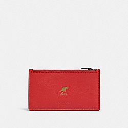 LUNAR NEW YEAR ZIP CARD CASE WITH RAT - QB/TRUE RED - COACH F88130