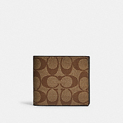 3-IN-1 WALLET IN COLORBLOCK SIGNATURE CANVAS - QB/TAN TERRACOTTA - COACH F88132