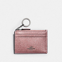 MINI SKINNY ID CASE - QB/METALLIC DARK BLUSH - COACH F88250