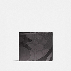 3-IN-1 WALLET IN SIGNATURE CANVAS WITH CAMO PRINT - QB/GREY MULTI - COACH F88270