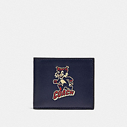 ID BILLFOLD WALLET WITH PARTY CAT PRINT - QB/CADET MULTI - COACH F88357