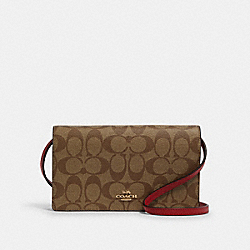 HAYDEN FOLDOVER CROSSBODY CLUTCH IN COLORBLOCK SIGNATURE CANVAS - IM/TRUE RED MULTI - COACH F88583