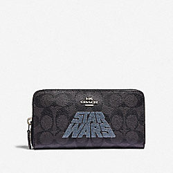 STAR WARS X COACH ACCORDION ZIP WALLET IN SIGNATURE CANVAS WITH MOTIF - SV/BLACK SMOKE/BLACK MULTI - COACH F88589