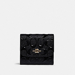 SMALL WALLET IN SIGNATURE LEATHER - IM/BLACK - COACH F88907