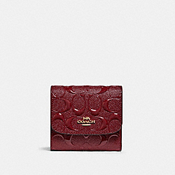 SMALL WALLET IN SIGNATURE LEATHER - IM/CHERRY - COACH F88907