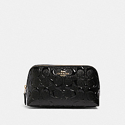COSMETIC CASE 17 IN SIGNATURE LEATHER - IM/BLACK - COACH F88908