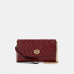 CHAIN CROSSBODY IN SIGNATURE LEATHER - IM/CHERRY - COACH F88909