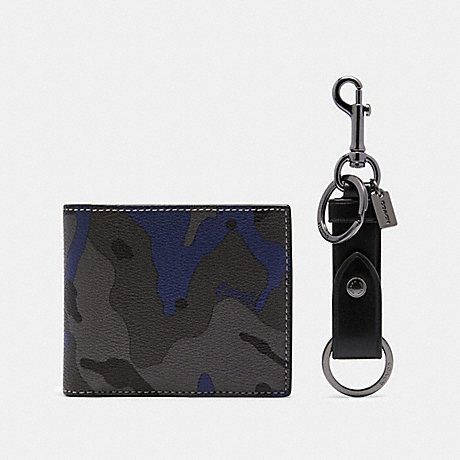 COACH BOXED ID BILLFOLD WALLET AND KEY FOB GIFT SET IN SIGNATURE CANVAS WITH CAMO PRINT - BLUE MULTI - F88912