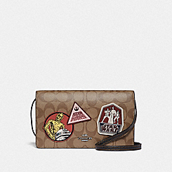 STAR WARS X COACH HAYDEN FOLDOVER CROSSBODY CLUTCH IN SIGNATURE CANVAS WITH PATCHES - QB/KHAKI MULTI - COACH F88921