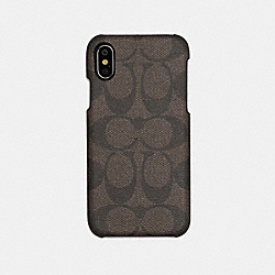 IPHONE X/XS CASE IN SIGNATURE CANVAS - MAHOGANY - COACH F89009