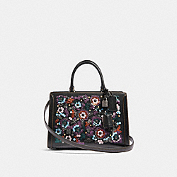 ZOE CARRYALL WITH LEATHER SEQUINS - QB/BLACK MULTI - COACH F89041