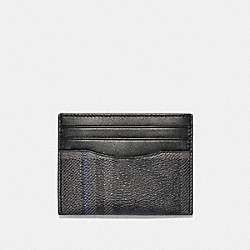 SLIM CARD CASE IN SIGNATURE CANVAS WITH GRACE PLAID PRINT - SV/BLACK GREY - COACH F89059
