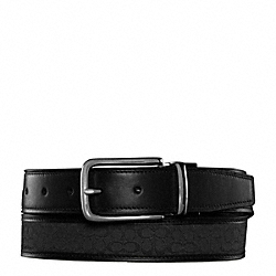 COACH REVERSIBLE SIGNATURE BELT - BLACK/BLACK - F90107