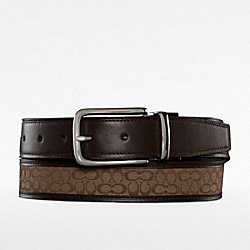 COACH REVERSIBLE SIGNATURE BELT - KHAKI/MAHOGANY - F90107