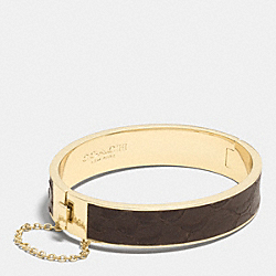 COACH EXOTIC LEATHER INLAY CHAIN HINGED BANGLE - MULTICOLOR - F90287