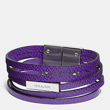 COACH MULTI STRAND LEATHER BRACELET - SILVER/PURPLE IRIS - f90307