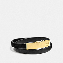 LEATHER DOUBLE WRAP COACH PLAQUE BRACELET - GOLD/BLACK - COACH F90316