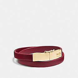 LEATHER DOUBLE WRAP COACH PLAQUE BRACELET - f90316 - LIGHT GOLD/RED CURRANT