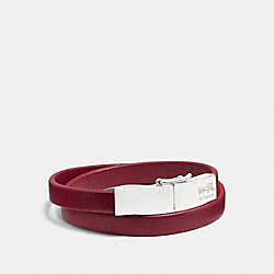 LEATHER DOUBLE WRAP COACH PLAQUE BRACELET - f90316 -  SILVER/RED CURRANT