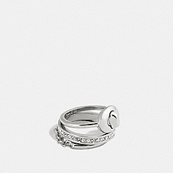 PAVE TURNLOCK RING SET - f90317 - SILVER/CLEAR