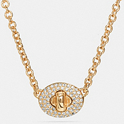SHORT PAVE TURNLOCK NECKLACE - GOLD/CLEAR - COACH F90322