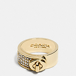 COACH PAVE TURNLOCK BAND RING - GOLD - F90324