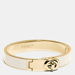 C.O.A.C.H. ENAMEL TURNLOCK HINGED BANGLE - GOLD/CHALK - COACH F90325