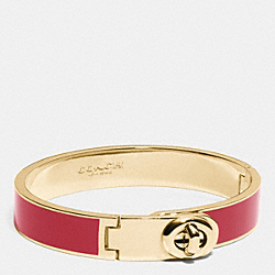 C.O.A.C.H. ENAMEL TURNLOCK HINGED BANGLE - LIGHT GOLD/RED CURRANT - COACH F90325