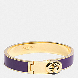 COACH C.O.A.C.H. ENAMEL TURNLOCK HINGED BANGLE - LIGHT GOLD/VIOLET - F90325