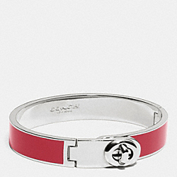 COACH C.O.A.C.H. ENAMEL TURNLOCK HINGED BANGLE - SILVER/RED CURRANT - F90325