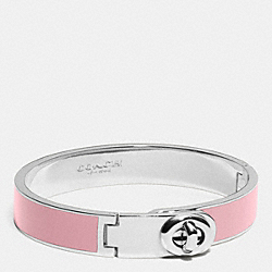 COACH C.O.A.C.H. ENAMEL TURNLOCK HINGED BANGLE - SILVER/PETAL PINK - F90325