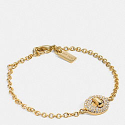 COACH PAVE TURNLCOK BRACELET - GOLD/CLEAR - F90326