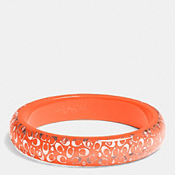 C.O.A.C.H. SLIM RESIN BANGLE - SILVER/NEON ORANGE - COACH F90340