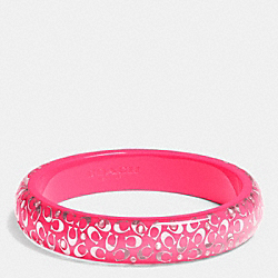 C.O.A.C.H. SLIM RESIN BANGLE - SILVER/NEON PINK - COACH F90340
