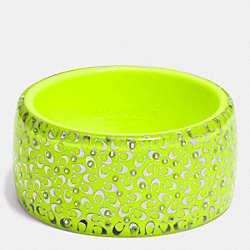 C.O.A.C.H. WIDE RESIN BANGLE - SILVER/GLO LLIGHT GOLDE - COACH F90341