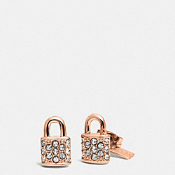 PAVE PADLOCK STUD EARRINGS - ROSEGOLD - COACH F90343