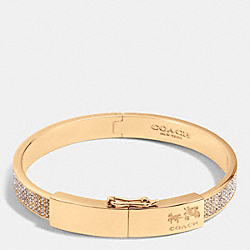 COACH PAVE PLAQUE HINGED BANGLE - RESIN/CLEAR - COACH F90346
