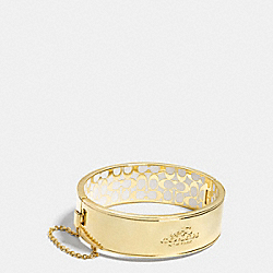 COACH METAL CHAIN HINGED BANGLE - GOLD/CHALK - COACH F90350