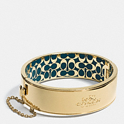 COACH METAL CHAIN HINGED BANGLE - GOLD/TEAL - COACH F90350