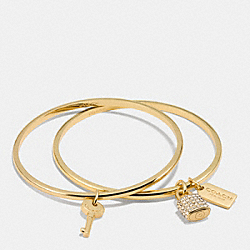 LOCK AND KEY BANGLE SET - f90352 - GOLD