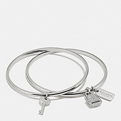 COACH LOCK AND KEY BANGLE SET - SILVER - F90352