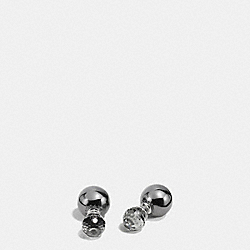 DOUBLE SPHERES QUARTS EARRINGS - SILVER/BLACK - COACH F90354