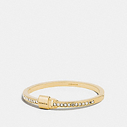 COACH PADLOCK AND PAVE HINGED BANGLE - GOLD/CLEAR - F90355