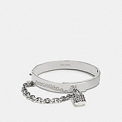 COACH PAVE PADLOCK CHAIN HINGED BANGLE - SILVER - F90363
