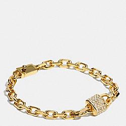 PAVE PADLOCK CHAIN BRACELET - GOLD - COACH F90366