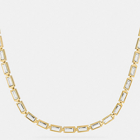 COACH SINGLE ROW HANGTAG NECKLACE - GOLD/CLEAR - f90372