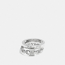 PAVE PADLOCK COACH RING SET - SILVER - COACH F90376
