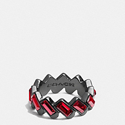 HANGTAG BAGUETTE BAND RING - RED/BLACK - COACH F90381