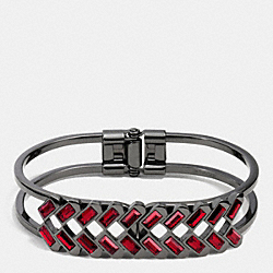 COACH HANGTAG BAGUETTE HINGED BANGLE - RED/BLACK - F90386