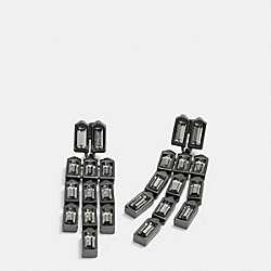 COACH LINKED HANGTAG CHANDELIER EARRINGS - BLACK - F90392